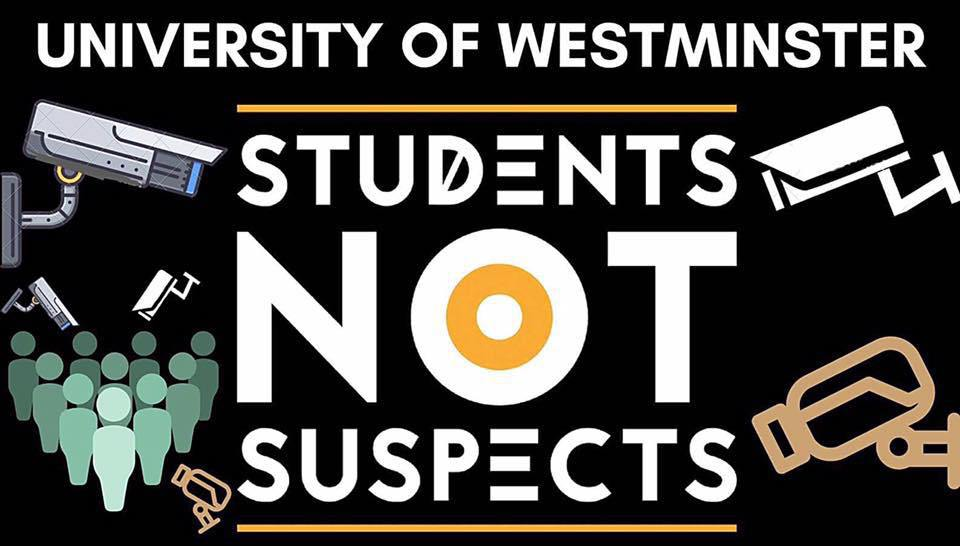 Students march against Prevent at the University of Westminster